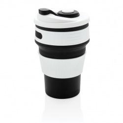 Skládací silikonový hrnek, XD Design, černý/bílý